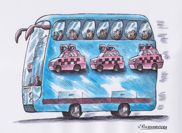Bus and taxi